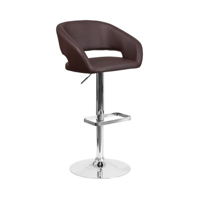 Spade Adjustable Height Swivel Bar Stool Upholstery: Brown