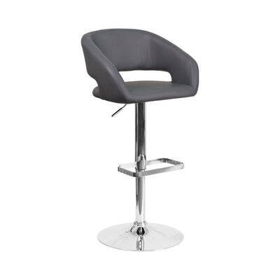 Spade Adjustable Height Swivel Bar Stool Upholstery: Gray
