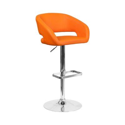 Spade Adjustable Height Swivel Bar Stool Upholstery: Orange