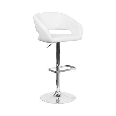 Spade Adjustable Height Swivel Bar Stool Upholstery: White