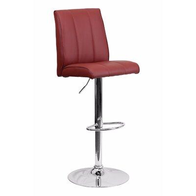 Adjustable Height Swivel Bar Stool Upholstery: Burgundy