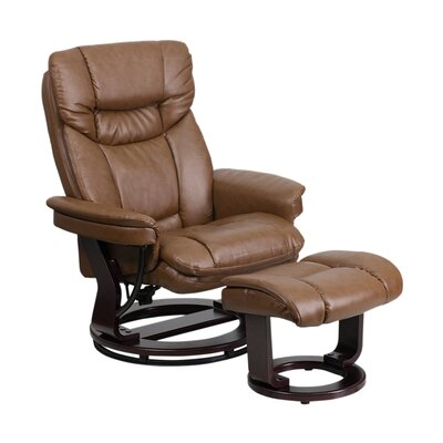 Mateo Manual Swivel Recliner with Ottoman Upholstery: Brown