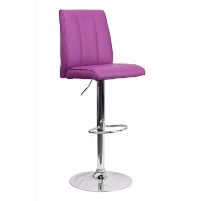 Adjustable Height Swivel Bar Stool Upholstery: Purple
