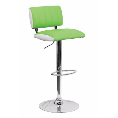 24.5 Swivel Bar Stool Upholstery: Green/White
