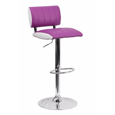 24.5 Swivel Bar Stool Upholstery: Purple/White