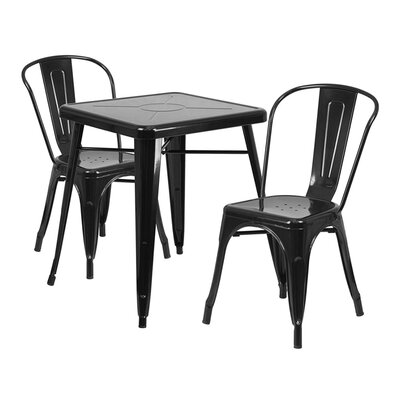 Guarino Metal Indoor/Outdoor 3 Piece Dining Set Color: Black