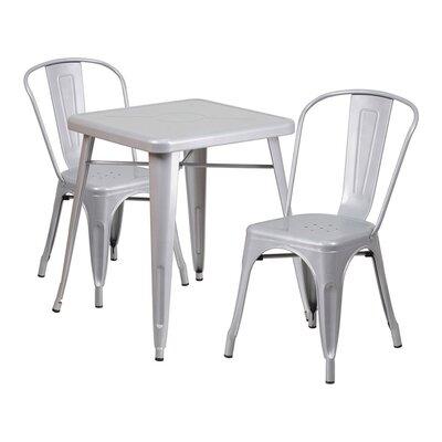 Guarino Metal Indoor/Outdoor 3 Piece Dining Set Color: Silver