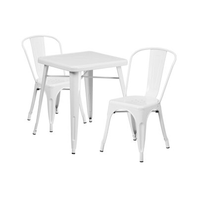Guarino Metal Indoor/Outdoor 3 Piece Dining Set Color: White