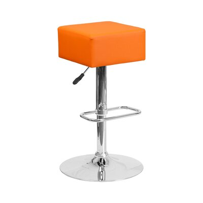 Spade Adjustable Height Swivel Bar Stool Upholstery: Orange