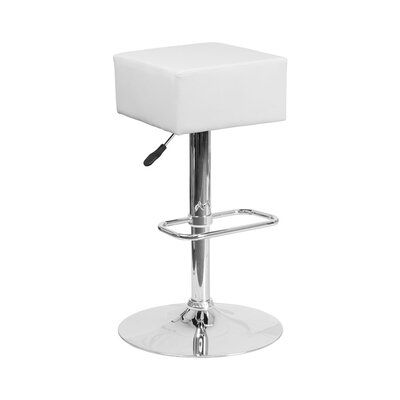 Spade Adjustable Height Swivel Bar Stool Upholstery: White