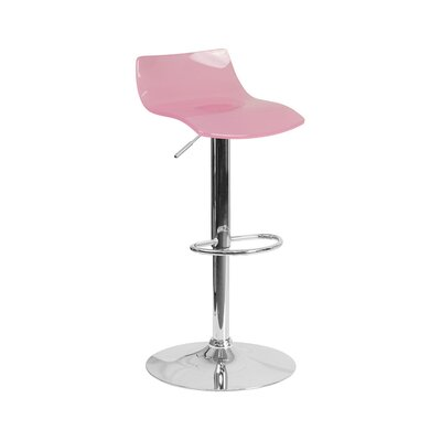 Aguon Adjustable Height Swivel Bar Stool Color: Pink