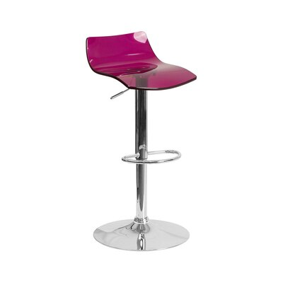 Aguon Adjustable Height Swivel Bar Stool Color: Purple