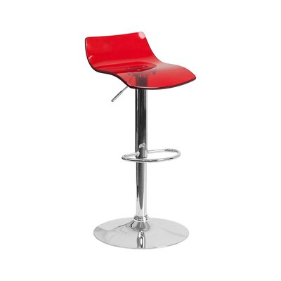 Aguon Adjustable Height Swivel Bar Stool Color: Red