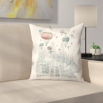 Voyages Over New York Throw Pillow Size: 16 x 16