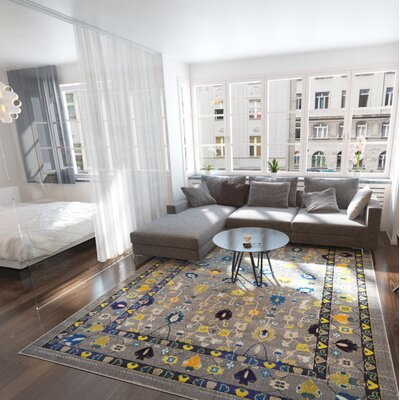 Iris Gray Area Rug Rug Size: Rectangle 33 x 53