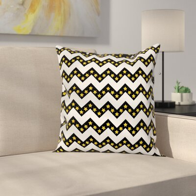 Chevron Parallel Striped Lines Cushion Pillow Cover Size: 24 x 24