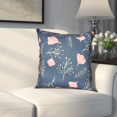 Orchard Lane Spring Floral Throw Pillow Size: 16 H x 16 W, Color: Navy Blue
