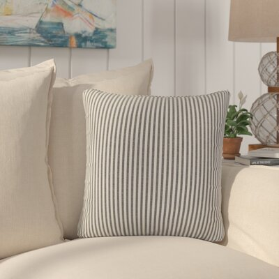 Montego Stripes Cotton Throw Pillow Color: Black