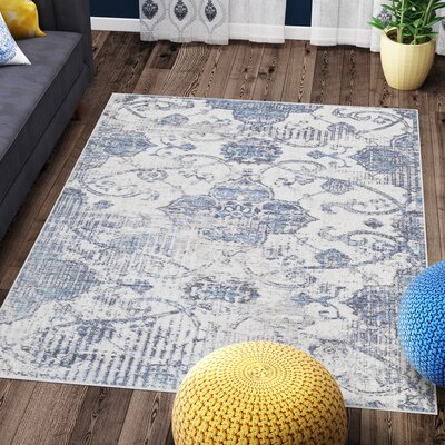 Andrews Distressed Tibetan Blue Area Rug Rug Size: 51 x 76
