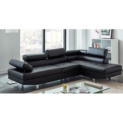 Patnaude Modern Sleeper Sectional Upholstery: Faux Leather Black