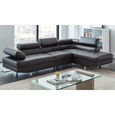 Patnaude Modern Sleeper Sectional Upholstery: Faux Leather Gray