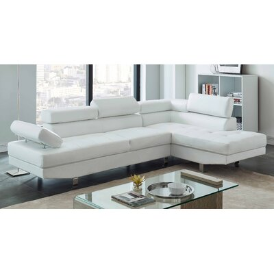 Patnaude Modern Sleeper Sectional Upholstery: Faux Leather White