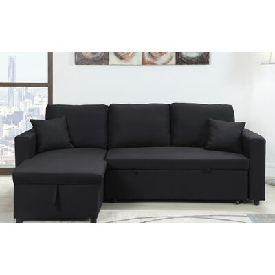 Mullaney Reversible Storage Pull Out Bed Sleeper Sectional Upholstery: Black