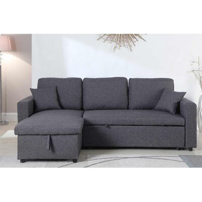 Mullaney Reversible Storage Pull Out Bed Sleeper Sectional Upholstery: Gray