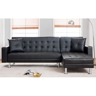 Paulin Reversible Chaise Sleeper Sectional Upholstery: Black
