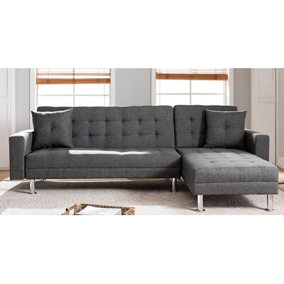 Paulin Reversible Chaise Sofa Bed Sleeper Sectional Upholstery: Gray