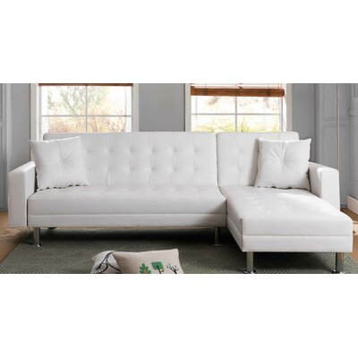 Paulin Reversible Chaise Sleeper Sectional Upholstery: White