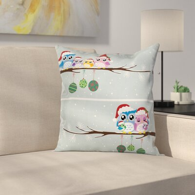 Owl Christmas Family Square Pillow Cover Size: 18 x 18