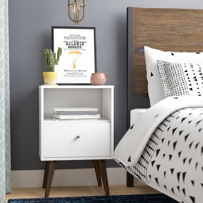 Amory Mid Century Modern 1 Drawer Nightstand Color: White