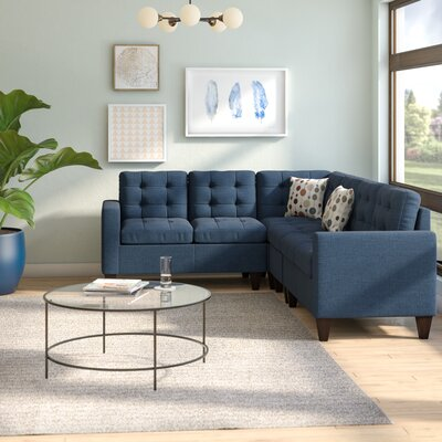 Prescot Sectional Upholstery: Navy