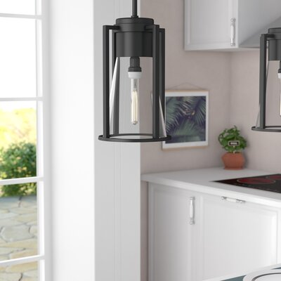 Seppe 1-Light Mini Pendant Finish: Black, Shade Color: Clear