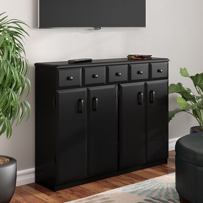 Multimedia Cabinet with Library Style Drawers Finish: Black