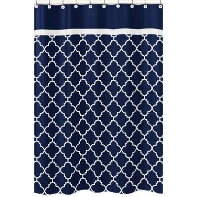 Trellis Brushed Microfiber Shower Curtain Color: Navy/White