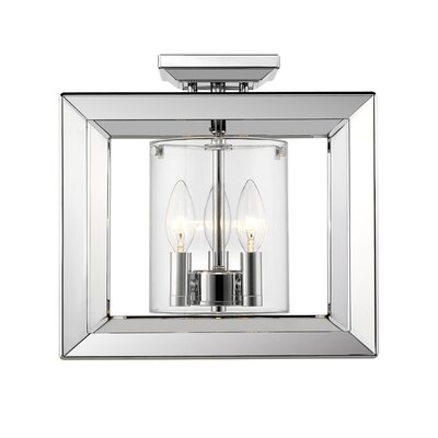 Coxsackie 3-Light Semi Flush Mount Shade Color: Clear Glass, Finish: Chrome