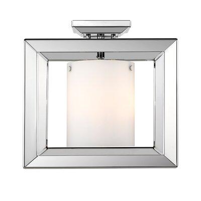 Thorne 3-Light Semi Flush Mount Shade Color: Opal Glass, Finish: Chrome