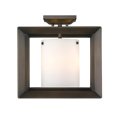 Coxsackie 3-Light Semi Flush Mount Shade Color: Opal Glass, Finish: Gunmetal Bronze