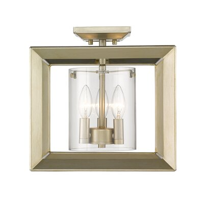Thorne 3-Light Semi Flush Mount Shade Color: Clear Glass, Finish: White Gold