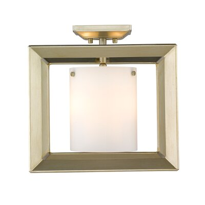 Thorne 3-Light Semi Flush Mount Shade Color: Opal Glass, Finish: White Gold
