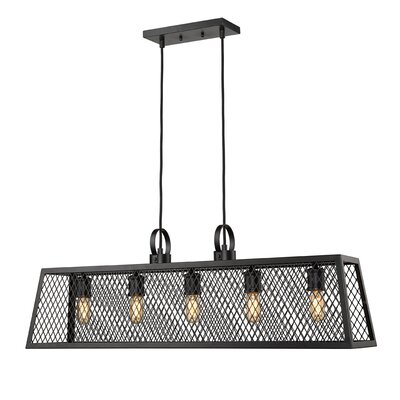 Diedrich 5-Light Kitchen Island Pendant Shade Color: Black