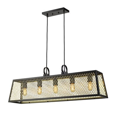 Diedrich 5-Light Kitchen Island Pendant Shade Color: Satin Brass