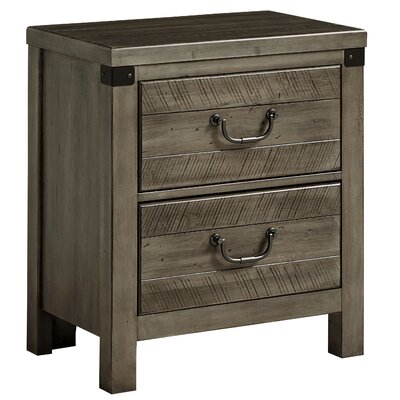 Rakowski 2 Drawer Nightstand with USB Charging Station Color: Earl Gray