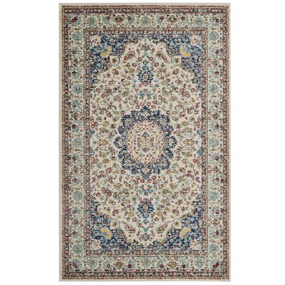 Fulcher Persian Medallion Blue/Beige Area Rug Rug Size: Rectangle 5 x 8