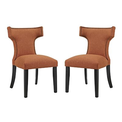 Curve Upholstered Dining Chair Upholstery: Orange