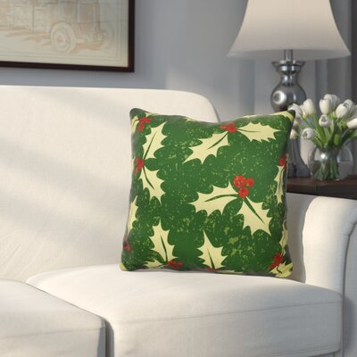 Allover Holly Throw Pillow Size: 16 H x 16 W, Color: Dark Green