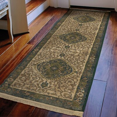 Hinkel Cream Green Area Rug Rug Size: Runner 111 x 76