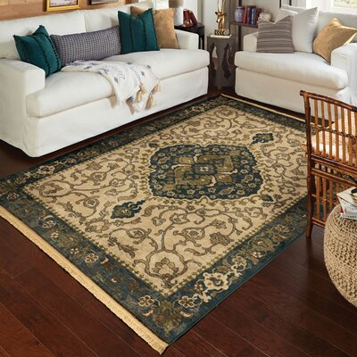 Hinkel Cream Green Area Rug Rug Size: Rectangle 9 x 13